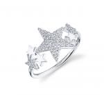 Shy Creation 14K White Gold Star Ring