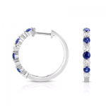 .25Dia and .25 Blue Sapphire Earrings 14KW