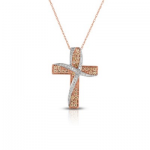 .37ct Diamond Cross 14K Pink Gold