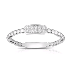 .10ct Pave Diamond Beaded Band 14KW