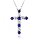 .11Dia and .15CT Blue Sapphire Cross 14KW