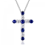 .22Dia and .30CT Blue Sapphire Cross 14KW