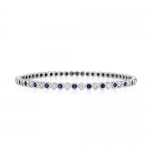 0.50ct Diamond and 0.60ct Blue Sapphire Bangle 14KW