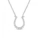 14K White Gold Diamond Horseshoe Pendant