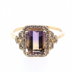 14K Yellow Gold Ametrine Ring with Diamonds