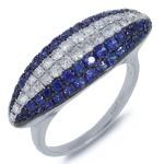 Shy Creation 0.57ct Diamond & 1.33ct Blue Sapphire 14k White Gold Ring