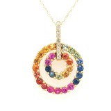 14K Yellow Gold Double Rainbow Necklace