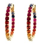 14K Yellow Gold Rainbow Inside Out Hoops