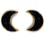 14KY Blue Sapphire Crescent Moon Earrings