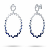 Shy Creation 0.52ct Diamonds and 1.12ct Blue Sapphire Posts With Drop Hoops