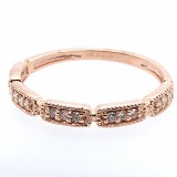 14K Rose Gold Milgrain Stackable Ring