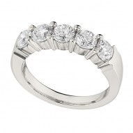 Wedding Band featuring 4 Round Brilliant Diamonds with 0.80ctw in White Gold