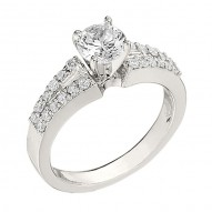 Engagement Ring featuring 24 Round Brilliant Diamonds with 0.38ctw in White Gold