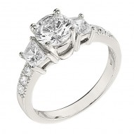 Engagement Ring featuring 6 Round Brilliant Diamonds with 0.18ctw in White Gold