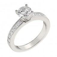 Engagement Ring featuring 12 Princess Cut Diamonds with 0.60ctw in White Gold