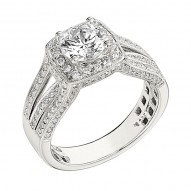 Engagement Ring featuring 136 Round Brilliant Diamonds with 0.75ctw in White Gold