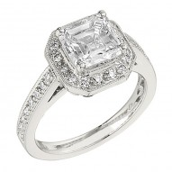 Engagement Ring featuring 32 Round Brilliant Diamonds with 0.34ctw in White Gold