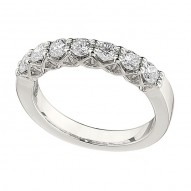 Wedding Band featuring 7 Round Brilliant Diamonds with 0.73ctw in White Gold