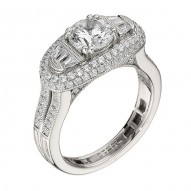 Engagement Ring featuring 114 Round Brilliant Diamonds with 0.66ctw in White Gold