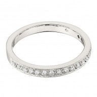 Wedding Band featuring 1 Round Brilliant Diamonds with 0.18ctw in White Gold