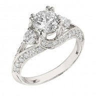 Engagement Ring featuring 34 Round Brilliant Diamonds with 0.52ctw in White Gold