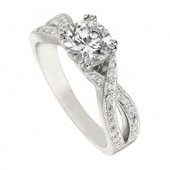Engagement Ring featuring 38 Round Brilliant Diamonds with 0.27ctw in White Gold