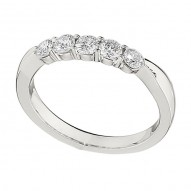 Wedding Band featuring 5 Round Brilliant Diamonds with 0.50ctw in White Gold