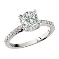Engagement Ring featuring 56 Round Brilliant Diamonds with 0.43ctw in White Gold