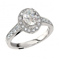 Engagement Ring featuring 26 Round Brilliant Diamonds with 0.45ctw in White Gold