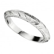 Engraved Wedding Band in White Gold