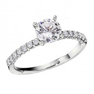 Engagement Ring featuring 14 Round Brilliant Diamonds with 0.28ctw in White Gold
