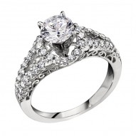 Engagement Ring featuring 44 Round Brilliant Diamonds with 0.40ctw in White Gold
