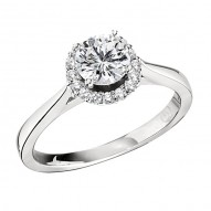 Engagement Ring featuring 16 Round Brilliant Diamonds with 0.14ctw in White Gold