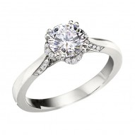 Engagement Ring featuring 26 Round Brilliant Diamonds with 0.09ctw in White Gold