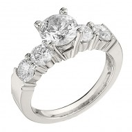 Engagement Ring featuring 5 Round Brilliant Diamonds with 1.00ctw in White Gold