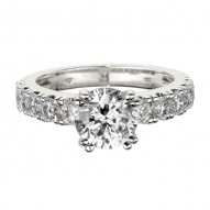 Engagement Ring featuring 10 Round Brilliant Diamonds with 0.95ctw in White Gold