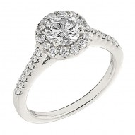 Engagement Ring featuring 40 Round Brilliant Diamonds with 0.43ctw in White Gold