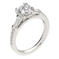 Engagement Ring featuring 10 Round Brilliant Diamonds with 0.11ctw in White Gold