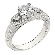 Engagement Ring featuring 84 Round Brilliant Diamonds with 0.60ctw in White Gold