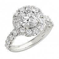 Engagement Ring featuring 32 Round Brilliant Diamonds with 1.60ctw in White Gold