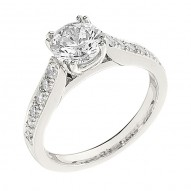 Engagement Ring featuring 12 Round Brilliant Diamonds with 0.35ctw in White Gold