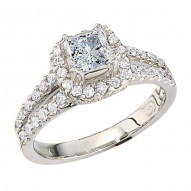 Engagement Ring featuring 64 Round Brilliant Diamonds with 0.65ctw in White Gold