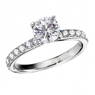 Engagement Ring featuring 18 Round Brilliant Diamonds with 0.54ctw in White Gold