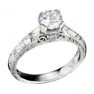 Engagement Ring featuring 2 Round Brilliant Diamonds with 0.03ctw in White Gold