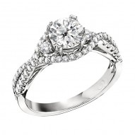 Engagement Ring featuring 64 Round Brilliant Diamonds with 0.57ctw in White Gold