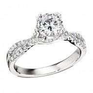 Engagement Ring featuring 48 Round Brilliant Diamonds with 0.31ctw in White Gold