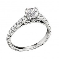 Engagement Ring featuring 16 Round Brilliant Diamonds with 0.31ctw in White Gold