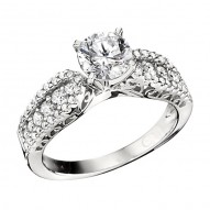 Engagement Ring featuring 54 Round Brilliant Diamonds with 0.54ctw in White Gold