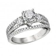 Engagement Ring featuring 98 Round Brilliant Diamonds with 0.86ctw in White Gold