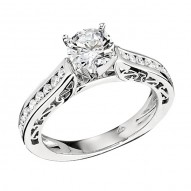 Engagement Ring featuring 18 Round Brilliant Diamonds with 0.41ctw in White Gold